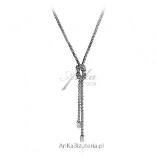 Naszyjnik srebrny rodowany -krawat