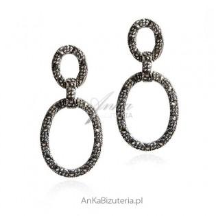 Piękna biżuteria Kolczyki srebrne z markazytami