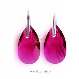 Klasyczne Kolczyki Swarovski -rubinowe