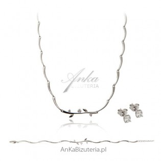 Biżuteria ślubna Komplet srebrny