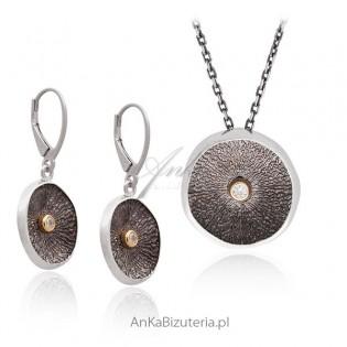 Srebrny komplet biżuterii Komplet srebrny oksydowany Artystyczna biżuteria