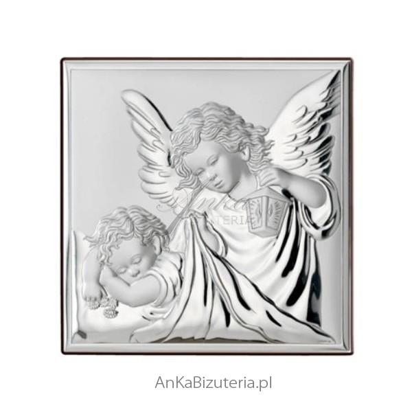 srebrny obrazek z aniołkiem