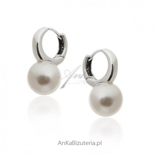 Kolczyki srebrne perły białe