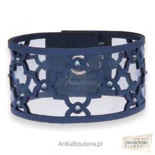 Biżuteria Swarovski ranatowa bransoletka z kryształami