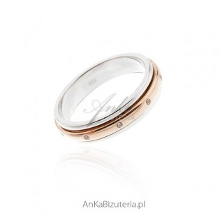 Pierścionek srebrny pozłacany - ANTYSTRES