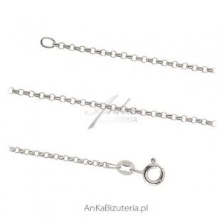 Włoski łańcuszek srebrny ROLO rodowany