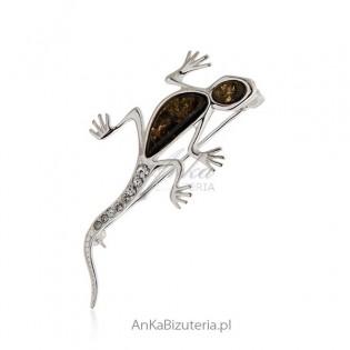 Broszka srebrna z bursztynem Jaszczurka