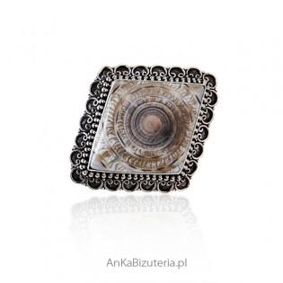 Elegancka broszka-wisior srebrny oksydowany z muszli Paua - UNIKAT