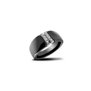 Pierścionek ceramika czarna srebro microsetting