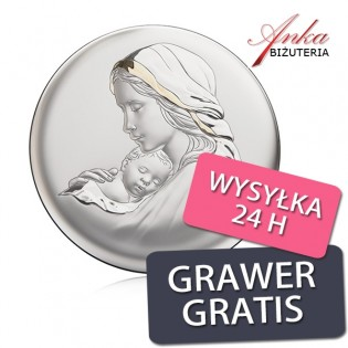 Pamiątka srebrna Obrazek srebrny Madonna z Dzieciątkiem
