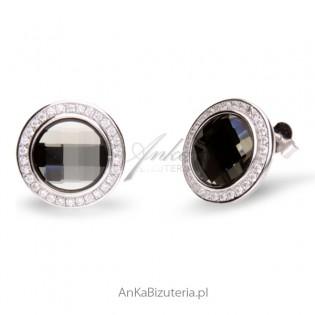 Biźuteria Swarovski Kolczyki CHESSBOARD CIRCLE Black Diamond.