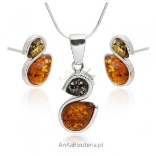 Komplet biżuterii bursztyn