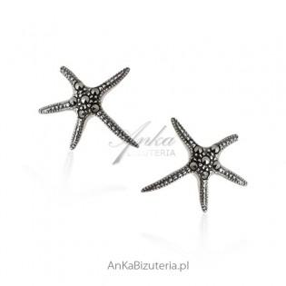 Kolczyki srebrne z markazytami Rozgwiazdy