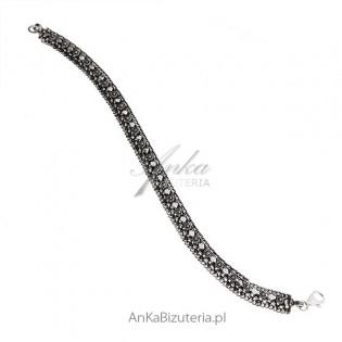 Bransoletka srebrna oksydowana - Biżuteria artystyczna