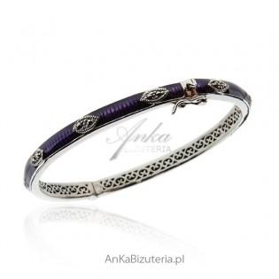 Piękna bransoletka srebrna z markazytami i fioletową emalią