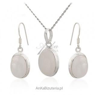 Kamień na szczęście - Kamień księżycowy -Komplet srebrny