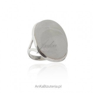 Kamień Księżycowy - Duży pierścionek srebrny z kamieniem szczęścia! Rozm. 20