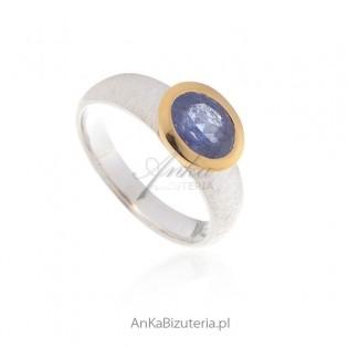 Pierścionek zaręczynowy - Piękny pierścionek srebrny z prawdziwym tansanitem