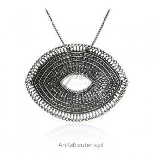 Oryginalna biżuteria srebrna Zawieszka srebrna oksydowana