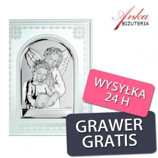 Prezent na Komunię -Obrazek srebrny na szkle