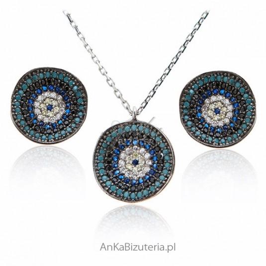 Komplet biżuterii srebrny z turkusem i cyrkoniami