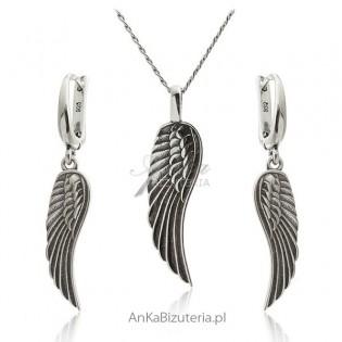 Komplet biżuteria srebrna Skrzydła Anioła