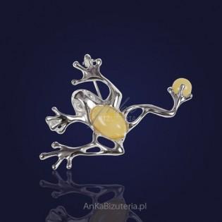 """Broszka/Wisior Żaba z żółtym bursztynem - prezent z dedykacją :""""Szczęścia i kasy"""""""