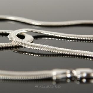 Łańcuszek srebrny 45cm Żmija - kaszmirowy splot.