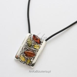 Naszyjnik srebrny z kolorowym BURSZTYNEM na kauczuku