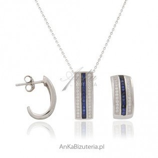 """Komplet srebrny """"Desire"""" -lśniące cyrkonie w srebrnej oprawie"""