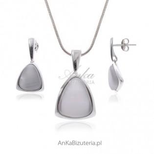 Uleksyt biało-szary-komplet srebrny z uleksytem