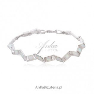 Bransoletka srebrna Opal biały Niespotykanyy wzór