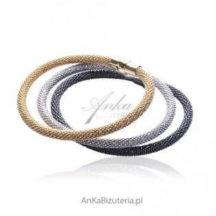 Zestaw bransoletek srebrnych włoskich
