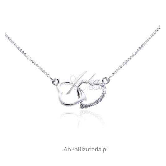 Naszyjnik srebrny rodowany Serce w sercu