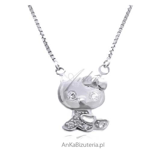Naszyjnik srebrny dla dziewczynek z kotkiem mikroseting