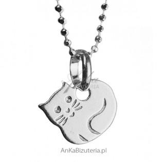 Biżuteria dla dzieci Wisiorek srebrny kotek