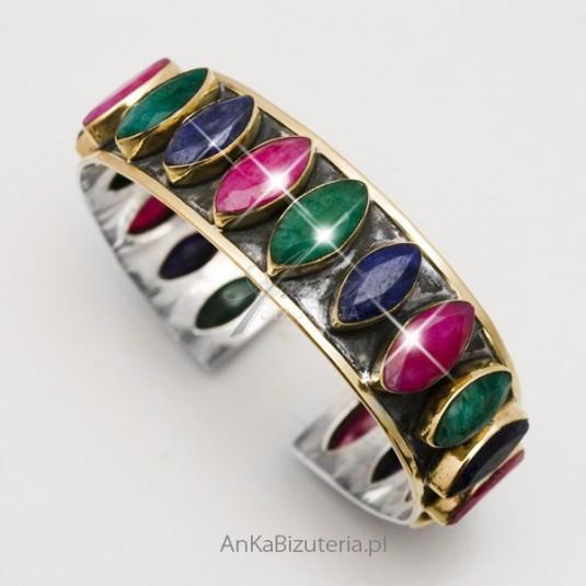 Elegancka bransoletka srebrna z kamieniami szlachetnymi