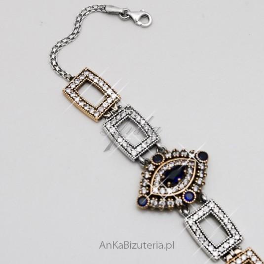 Bransoletka z kamieniami szlachetnymi i srebra