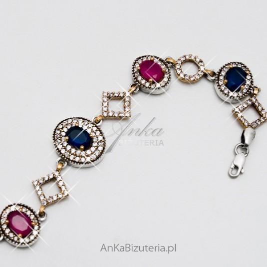 Bransoletka srebrna z szafirami rubinami i cyrkoniami