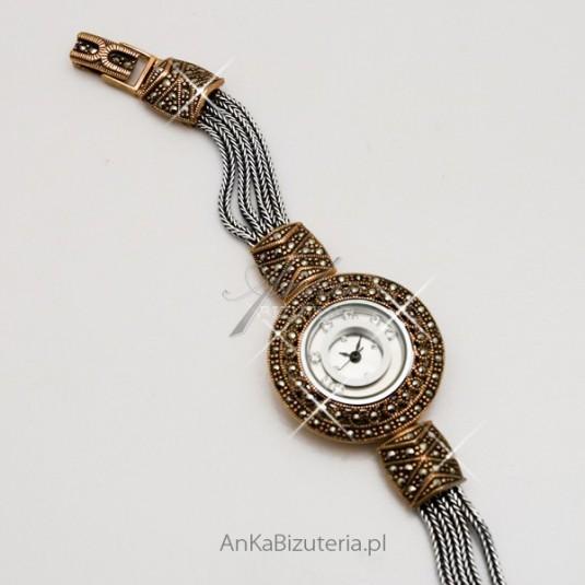 Zegarek srebrny z markazytami i cyrkoniami
