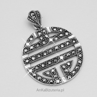 Oryginalny Wisior srebrny z markazytami Biżuteria na Prezent!