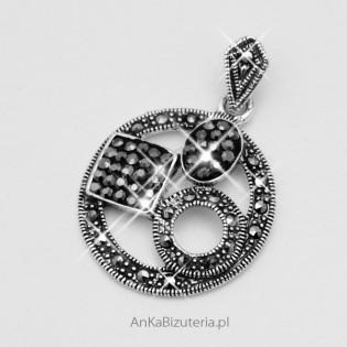 Biżuteria na Prezent - Wisiorek srebrny z markazytami i hematytami