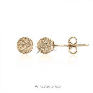 Kolczyki srebrne złocone 18 k złotem diamentowane