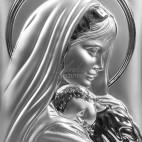 Srebrny obrazek Matki Boskiej z dzieciątkiem 15 x 20 GRAWER GRATIS