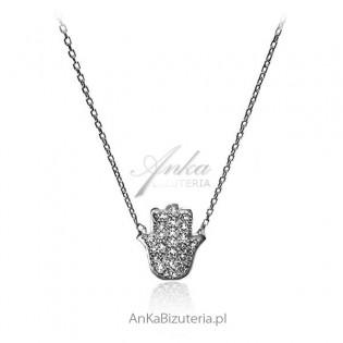 Naszyjnik srebrny cyrkonie - Ręka Fatimy