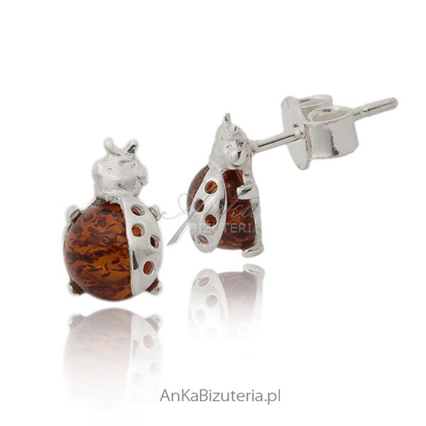 biżuteria dziecięca biedronki z bursztynem ze srebra