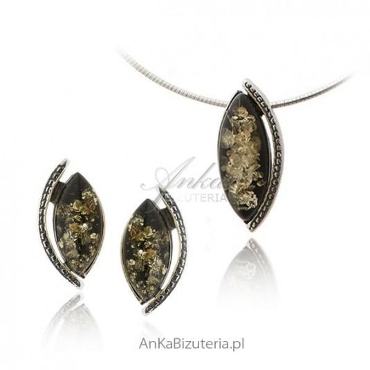 Komplet srebrny z zielonym bursztynem