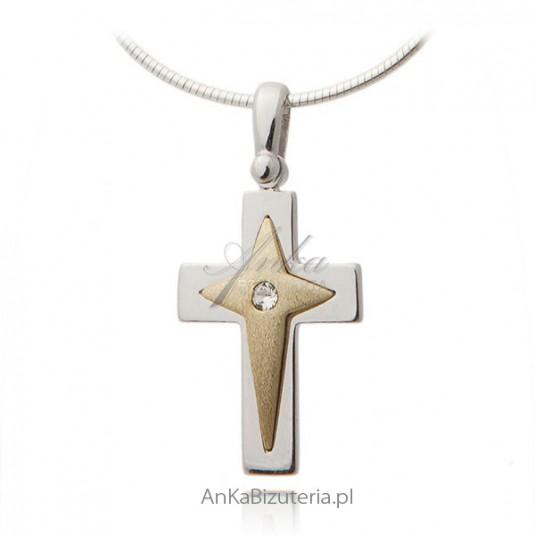 Krzyżyk srebrny pozłacany, diamentowany