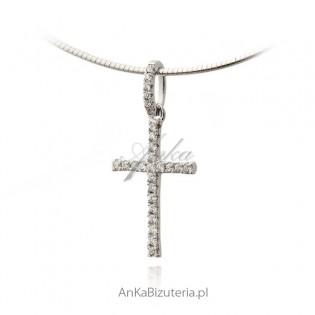 Krzyżyk srebrny z maleńkimi cyrkoniami Śliczny