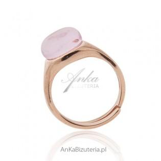 Komplet srebrny pozłacany złotem różowym z różowym kamieniem